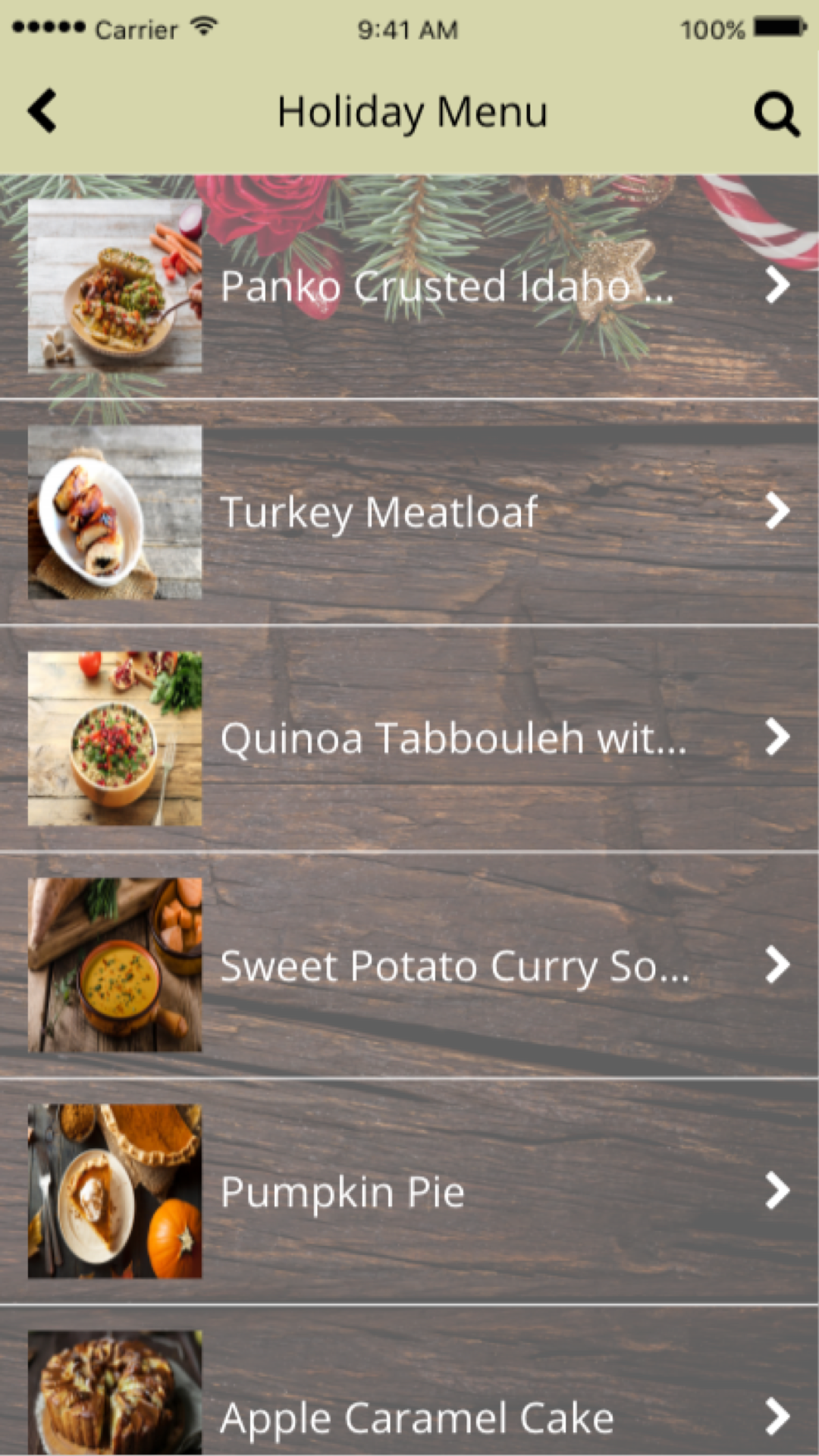 Holiday app menu