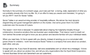 LinkedIn Summary for Sales