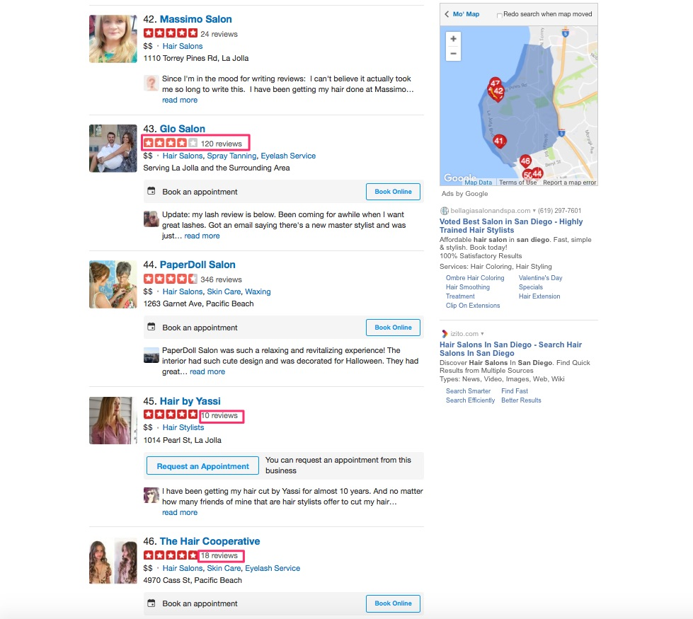 yelp search leads
